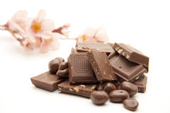 Chocolate with flower Royalty Free Stock Photography