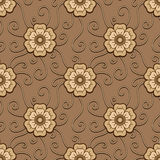 Chocolate flowers pattern Stock Images