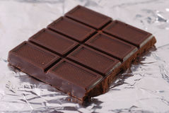 Chocolate on a foil Stock Photo