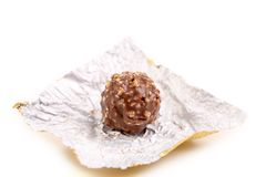 Chocolate on a foil. royalty free stock images