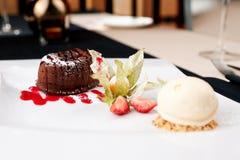 Chocolate fondant. With vanilla ice cream and raspberry sauce royalty free stock photography