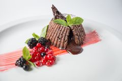 Chocolate fondant with berries and mint on the white plate.  royalty free stock photography