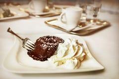 Chocolate fondant. Close up of hocolate fondant stock photos