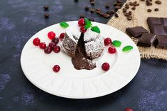 Delicious chocolate fondant with cranberry sauce. Chocolate fondant with cranberry sauce royalty free stock photos