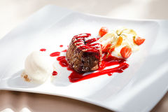 Chocolate fondant with ice cream. Chocolate fondant with vanilla ice cream and raspberry sauce stock photography