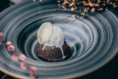 Chocolate fondant with ice cream. Decorated with spring flowers in a decorative plate Royalty Free Stock Images