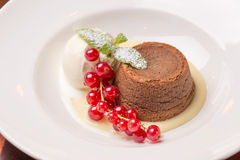 Chocolate fondant lava cake Stock Images