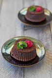Chocolate fondant. Lava cake with raspberries and mint Royalty Free Stock Image