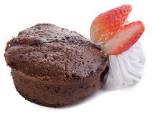 Chocolate fondant lava cake with strawberries Stock Photo