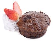 Chocolate fondant lava cake with strawberries Stock Image