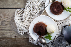 Chocolate fondant - lava cake with vanilla ice cream Royalty Free Stock Images