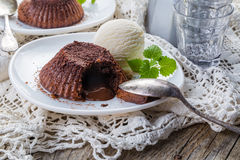 Chocolate fondant - lava cake with vanilla ice cream Stock Image