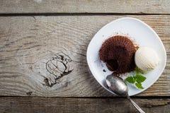 Chocolate fondant - lava cake with vanilla ice cream. Copy space stock image
