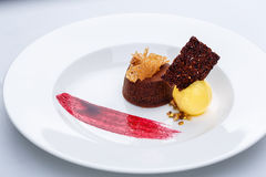 Chocolate fondant with lemon ice cream and raspberry sauce. On white plate on white tablecloth stock image