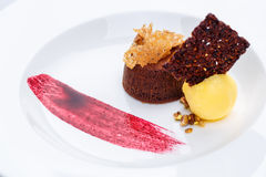 Chocolate fondant with lemon ice cream and raspberry sauce. On white plate on white tablecloth stock images