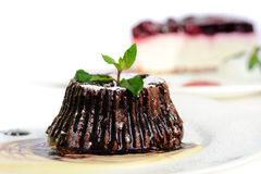 Chocolate fondant with peppermint leaves Stock Image