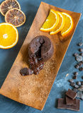 Chocolate fondant. View from above. Stock Images