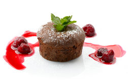 Chocolate fondant. Whith cherry syrup royalty free stock photo