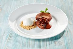 Chocolate fondant on wood royalty free stock photo