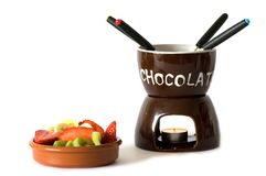 Chocolate fondue Stock Images