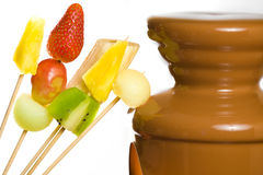 Chocolate fondue Stock Photo
