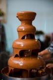 The chocolate fondue Stock Photo