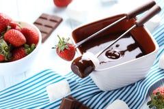 Chocolate fondue royalty free stock photo