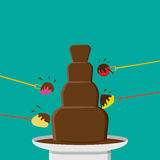 Chocolate Fondue party in flat style, vector Stock Images