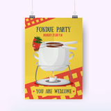 Chocolate Fondue and Strawberry Poster for party. Romantic evening. swiss food. Vector illustration Stock Photos