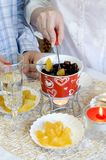 Chocolate fondue for two Stock Photos