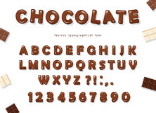 Chocolate font design. Sweet glossy ABC letters and numbers. Royalty Free Stock Images