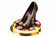 Chocolate in the form of a shoes Stock Photos