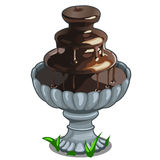 Chocolate fountain in architectural bowl. Vector Royalty Free Stock Images