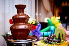 Chocolate fountain on a blurred background with fresh fruits royalty free stock images