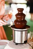 Chocolate fountain catering at the party Royalty Free Stock Photos