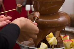 Chocolate fountain and extends a hand to it Royalty Free Stock Images