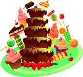 Chocolate fountain. Festive chocolate fountain cofete ice cream and sweets Royalty Free Stock Photography