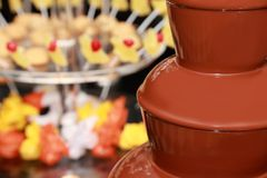 Chocolate fountain with fruit and marshmallow Royalty Free Stock Images