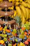 Chocolate fountain with fruits Stock Photos