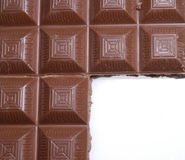 Chocolate frame. Chocolate on white ground Stock Photos