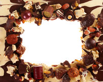 Chocolate frame with candy Stock Image