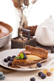 Chocolate frangipane pear tart Stock Images