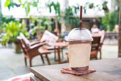 Chocolate frappe in cafe. Chocolate frappe in the cafe royalty free stock image