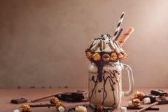 Chocolate freak or crazy shake Royalty Free Stock Image