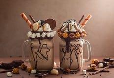 Chocolate freak or crazy shake Royalty Free Stock Photo