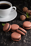 Chocolate french macarons with ganache filling Royalty Free Stock Image