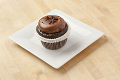 Chocolate Frosted Cupcake Stock Images