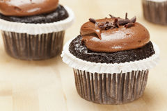 Chocolate Frosted Cupcake Stock Photos