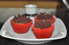 Chocolate Frosted Cupcakes Stock Images