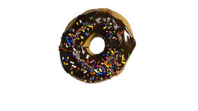 Chocolate frosted donut. With sprinkles isolated on a white background Royalty Free Stock Photos